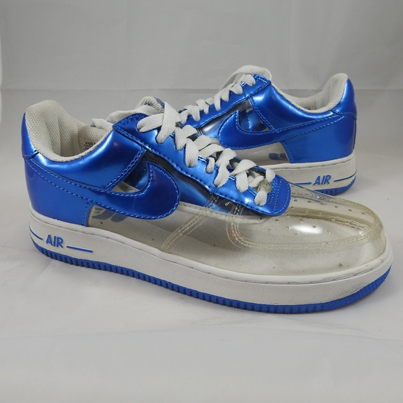 Nike Air Force 1 Clear/Blue Invisible Size 8